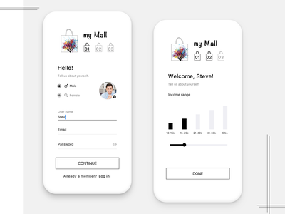 Registration screens for Shopping app shopping app register form shopping mobile design app ui user experience mobile design concept