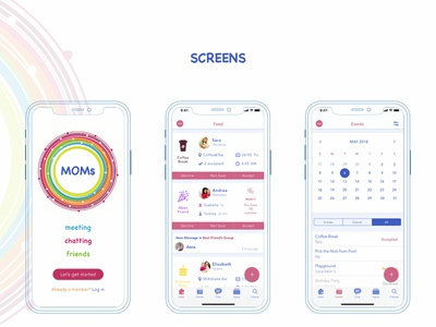 Social Mobile App for active Moms sketch app moms mum design concept social app mom mobile design ui mobile mobile app