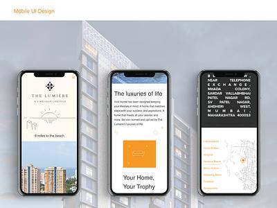 Mobile UI Design for luxury property real estate property responsive mobile design