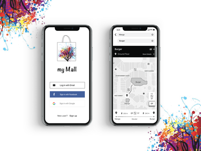 Mobile UX/UI Design for Mall with wayfinder mobile screen user experience user inteface shopping interaction design black  white ux  ui wayfinder app mall design concept mobile design