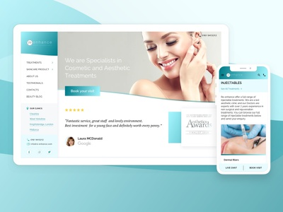 Redesign for Re-Enhance  medical & dental clinic dental redesign user experience beauty clinic webdesign mobile website uxui