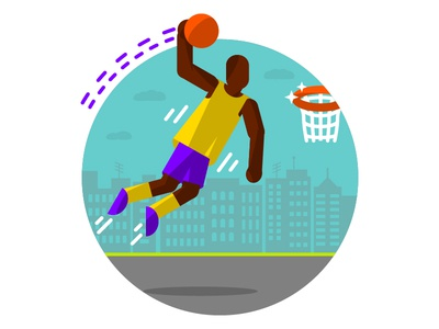 Basketball Illustrated Icon court vector illustrated icon lakers shaq rim hoop basketball player dunk basket basketball