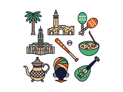 Cultural Icons morocco dr congo syria venezuela haiti soup kettle palmtree maraca mosque turban icon design icon set icon