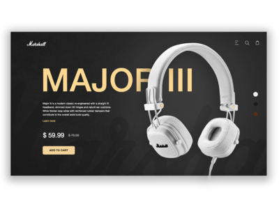 Marshall Major III Headphones Page Concept