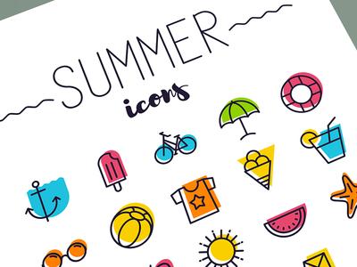 Summertime icon set
