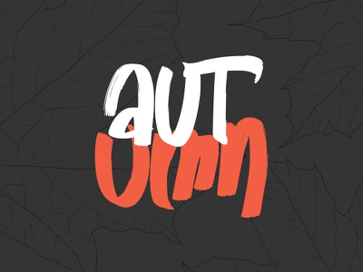 autumn fall maple leaves photoshop digital draw hand lettering word autumn