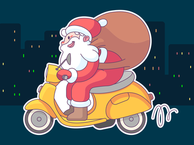 Happy hlds! sticker new year character illustration vector happy present scooter merry christmas xmas santa claus holiday