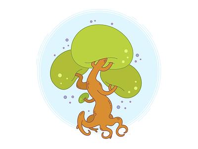 A tree. botany eco wood green illustration roots nature minimalistic cartoon simple vector tree