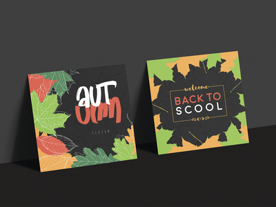 Autumn Posters template fall leaves color editable size print calligraphy design advertisement pack set autumn banner poster vector