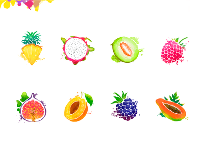 Fruits & berries. (reloaded) colorful bright tasty splash fruits painting icons food berry fruit juicy color set illustration design vector