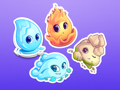 4 elements characters. sticker icon stone fire air earth elements cartoon cute set design character illustration vector