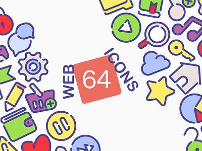 64 web icons. music settings basket button play key folder home flat bright color illustration bundle icons web icon set adobe illustrator design vector