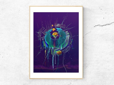 Glitch eye. wallpaper illustration art vaporwave synthwave film lines yellow cyan abstract splash neon purple frame effect watercolor graphic design poster eye glitch