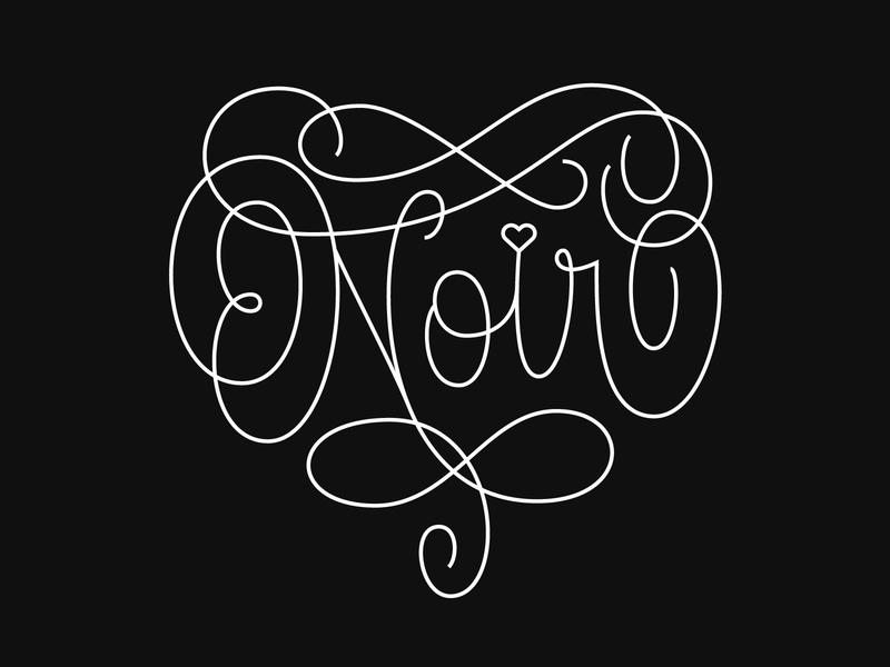 Heart Noir monoline monoweight illustration hashtaglettering beziers illustrator vector script typography type brand lettering logo branding design black heart black noir heart