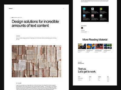 Blog Post news branding portfolio creative studio business startup layout webdesign agency article blog post cms typography white blog website minimalistic ux ui