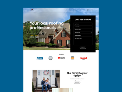 Roofing Landing Page architecture header construction cleaning interface web design homeowner real estate home builder home contractors roof service roofing housing landing page website minimal ux ui