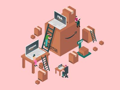 Isometric FBA Amazon Illustration