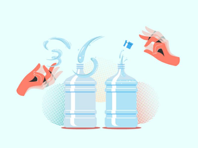 Control The Water minimal uiux landing page bottle water hands illustration shot dribbble vector 2d