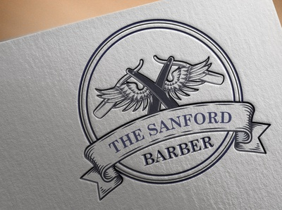 "Logo for A Barber Company ""The Sanford"""