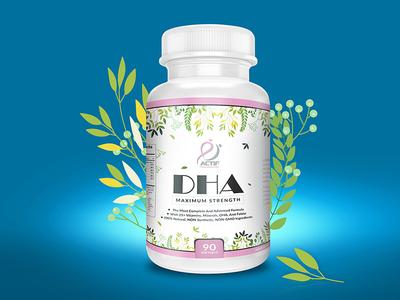 Label 8 strength supplement dha bottle design supplement product supplement nutrition nutritional health packaging label label design product packaging