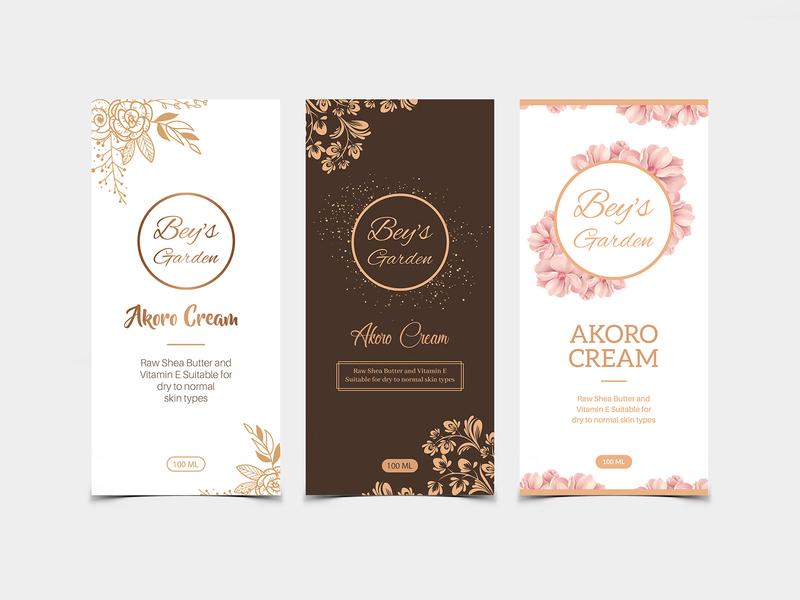 Bey's Garden Label Design design nisha f1 nisha droch nisha package design product packaging cream label label mockup label design beauty