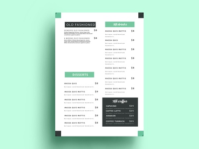 Cocktails Menu Design
