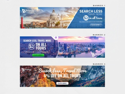 Search Less Travel More Banner Design