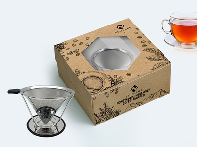 Honeycomb Pour Over Coffee Dripper Packaging Design