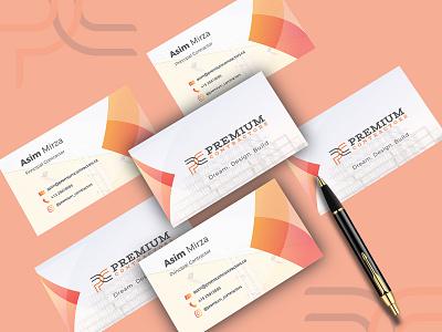 Premium Contractors Business Card Design graphics nisha droch nisha nisha f1 designer business card design company card business card business card template