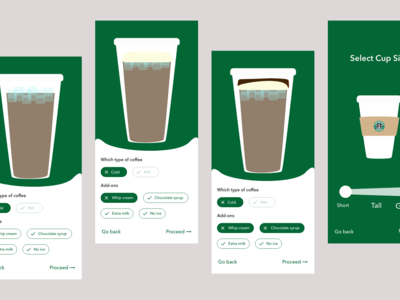 Type of coffee selection interaction