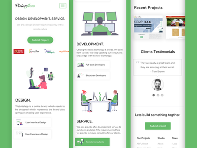 Responsive View of Visionflow responsive mobile design website ui design clean adobe adobe xd