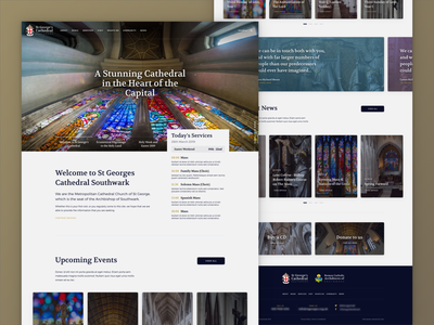 St George's Cathedral Southwark Homepage branding gradient events news carousel ux web design design website web homepage home cathedral