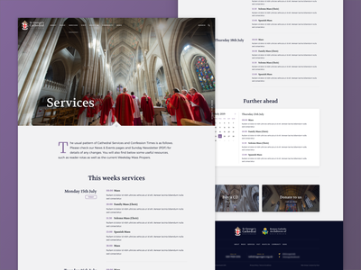St George's Cathedral Services gradient web design branding design cathedral uiux ui service design website web service services