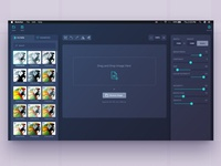 Sketcher Photo Editor dark ui upload mac sidebar settings filters drag and drop photo editor interface photo editor redesign dashboard simple minimal ux app ui