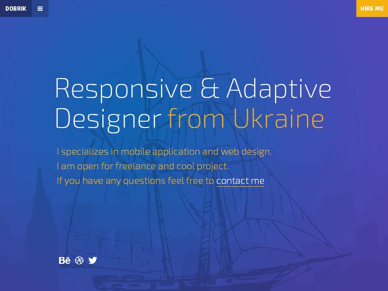 Dobrik page page personal portfolio simple ship ukraine minimal splash webflow