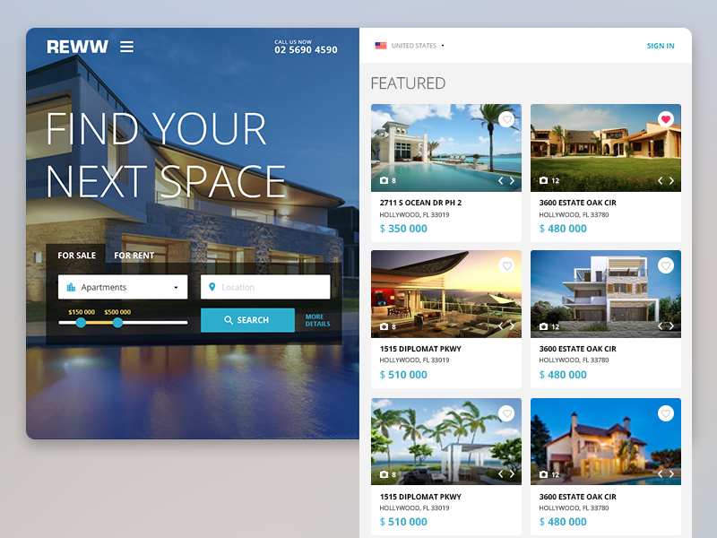 Reww web app list gui real estate interface ui