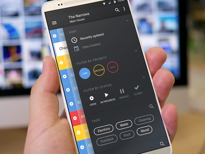 Issue Side Menu priority tags htc sort filter menu sidebar ui design material android app
