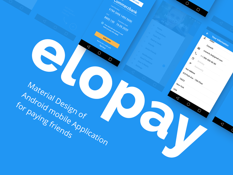 Elopay application mobile pay payment paying portfolio android app design material money