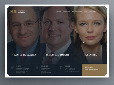 H&G People page minimal simple clean fullscreen ui attorney lawyer law page about
