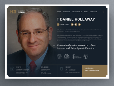 H&G About page minimal simple clean fullscreen ui attorney lawyer law page about
