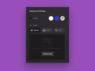 Image Upload - Background Pop settings color ux ui panel modal popup background