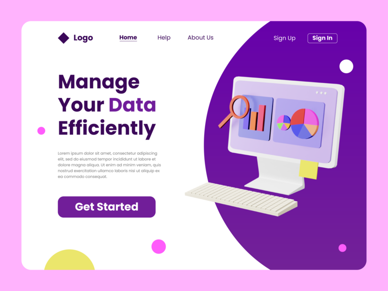 Data Manager Landing Page design render illustration blender 3d web design landing page design ux ui