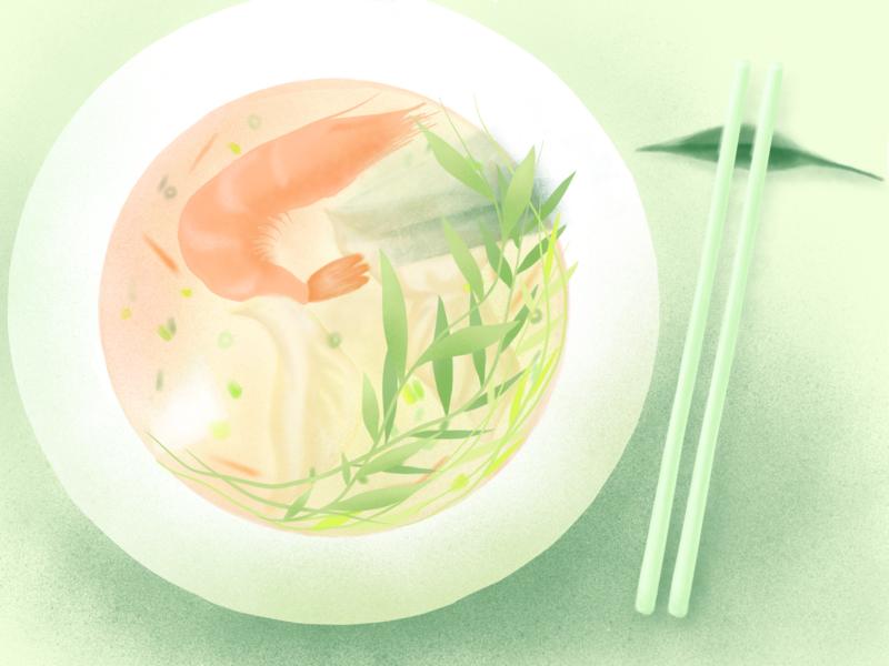 shrimp and wonton soup wonton vegetable texture soup shrimp sea food recipe onion leaf illustration handdraw gradient food digital color filter chopstick carrot broth
