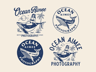 Design exploration for Ocean Aimee design branding vector graphicdesign logo artwork handrawn vintage logo vintage illustration