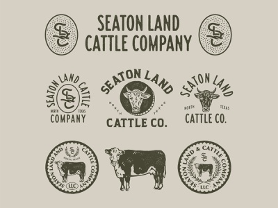 Design Exploration for Seaton Land Cattle Co. vintage inspired vintage badge badge graphicdesign vector illustration vintage logo artwork branding handrawn vintage