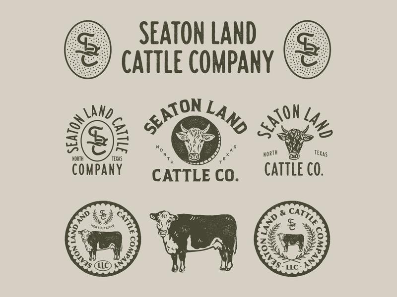 Design Exploration for Seaton Land Cattle Co. vintage inspired vintage badge badge graphicdesign vector illustration vintage logo artwork branding handrawn vintage