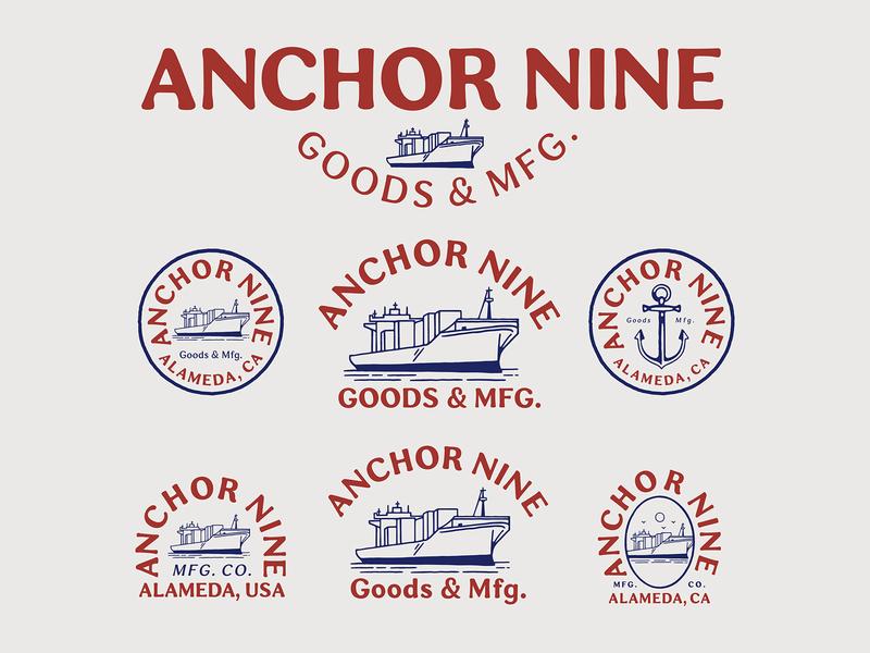 Branding design for Anchor Nine branding design brand identity badge logo vintage logo vector illustration branding handrawn vintage
