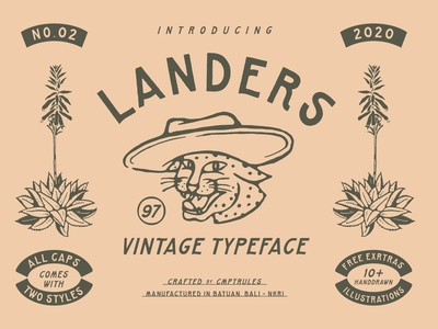 LANDERS VINTAGE TYPEFACE logo branding fontself vector font design fonts collection landersfont vintagefont fonts vintage logo artwork illustration handrawn