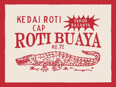 Logo Design for Kedai Cap Roti Buaya badge logo graphicdesign vintage design dribbble vintage logo branding artwork vintage handrawn illustration