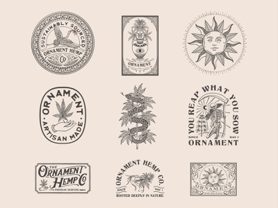 Branding for Ornament Hemp logo hemp hemp logo logo design vintage badge badge vintage branding artwork illustration handrawn